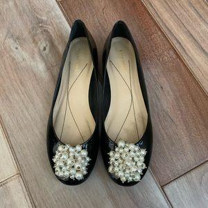 Kate Spade Black Patent Pearl Abbie Ballet Flats